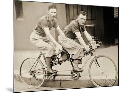 Two Men Wearing Plus-Fours on a Tandem, Sydney, Australia, 1933--Mounted Photographic Print