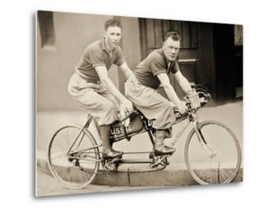 Two Men Wearing Plus-Fours on a Tandem, Sydney, Australia, 1933--Metal Print