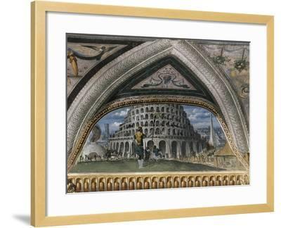 Biblical Scene and Tower of Babel--Framed Giclee Print