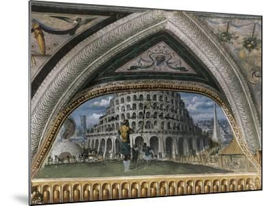 Biblical Scene and Tower of Babel--Mounted Giclee Print