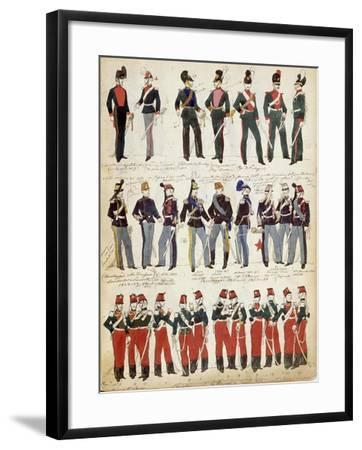 Various Italian Uniforms in Common Use around 1860--Framed Giclee Print