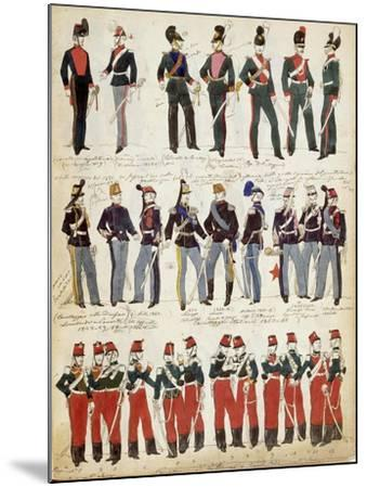Various Italian Uniforms in Common Use around 1860--Mounted Giclee Print