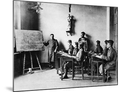 Lessons for Wounded French African Soldiers: a Wounded French Schoolmaster Teaching in His School--Mounted Photographic Print