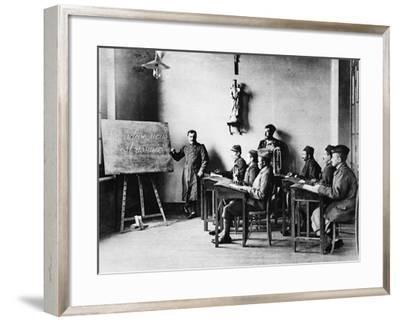Lessons for Wounded French African Soldiers: a Wounded French Schoolmaster Teaching in His School--Framed Photographic Print