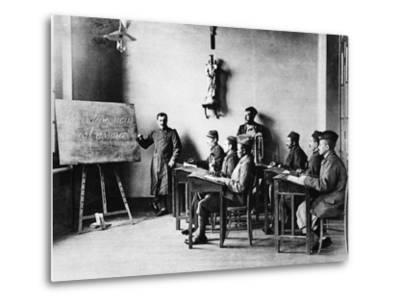 Lessons for Wounded French African Soldiers: a Wounded French Schoolmaster Teaching in His School--Metal Print