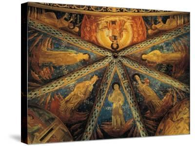 Italy, Montefalco, Vault of Apse of Church of Saint Francis Painted with Saints--Stretched Canvas Print