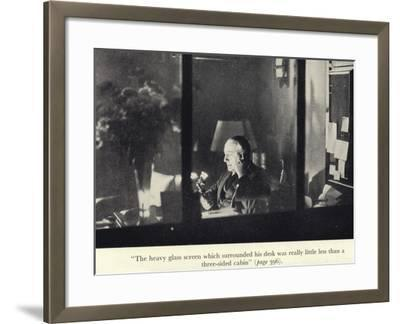 Portrait of Edgar Wallace at His Desk--Framed Photographic Print