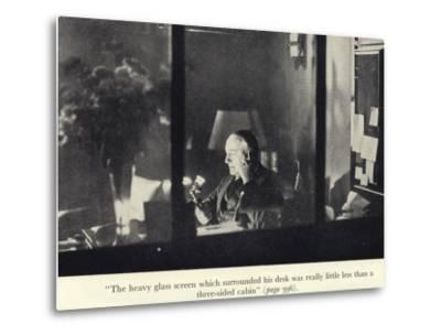 Portrait of Edgar Wallace at His Desk--Metal Print