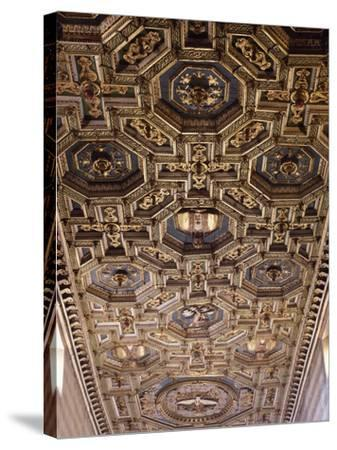 Glimpse of the Coffered Ceiling with Geometric and Floral Elements and Figures of Saints--Stretched Canvas Print