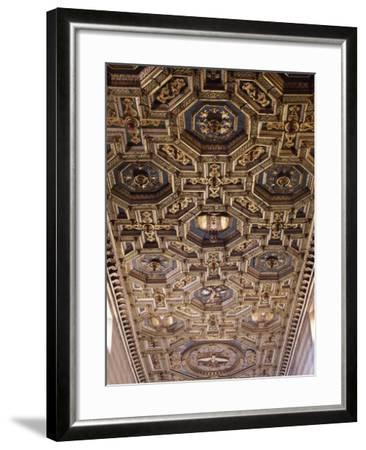 Glimpse of the Coffered Ceiling with Geometric and Floral Elements and Figures of Saints--Framed Giclee Print