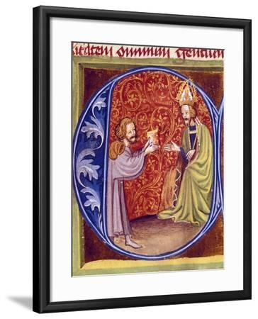 Pietro De Crescenzi Presenting a Copy of His Agricultural Treatise to King Charles IV of Bohemia--Framed Giclee Print