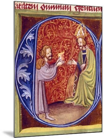 Pietro De Crescenzi Presenting a Copy of His Agricultural Treatise to King Charles IV of Bohemia--Mounted Giclee Print