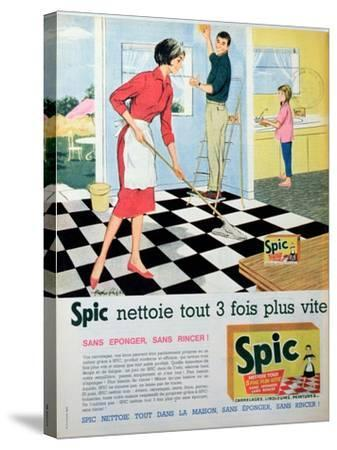Spic Cleans Three Times Faster', Advertisement for 'Spic' Floor Cleaner, from 'Elle'--Stretched Canvas Print