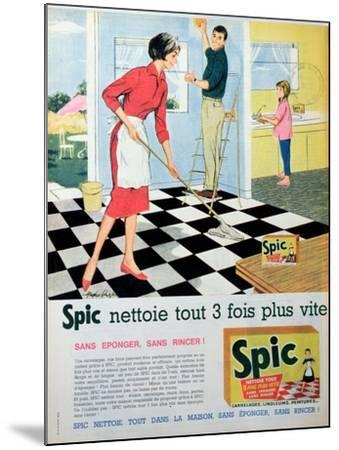 Spic Cleans Three Times Faster', Advertisement for 'Spic' Floor Cleaner, from 'Elle'--Mounted Giclee Print