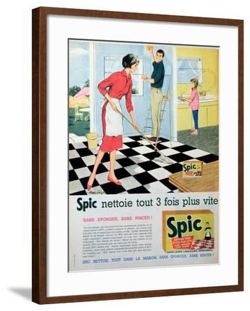 Spic Cleans Three Times Faster', Advertisement for 'Spic' Floor Cleaner, from 'Elle'--Framed Giclee Print