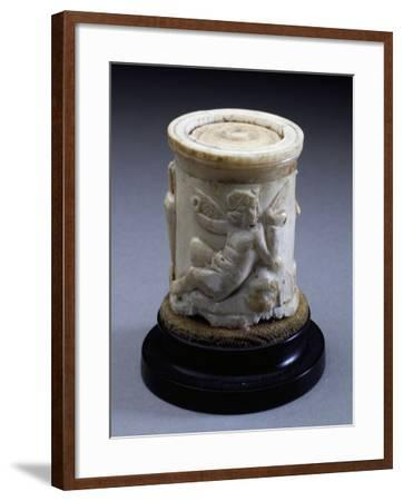 Eros Playing Flute Sitting on Rock--Framed Giclee Print