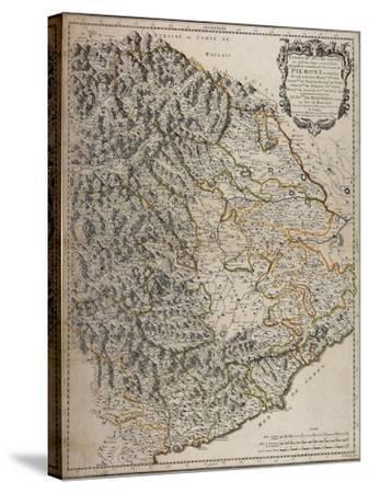 Northern Alpine Regions, Padan Plain and Western Liguria Region, Map--Stretched Canvas Print