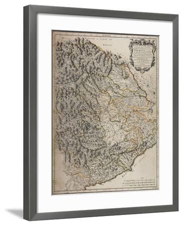 Northern Alpine Regions, Padan Plain and Western Liguria Region, Map--Framed Giclee Print