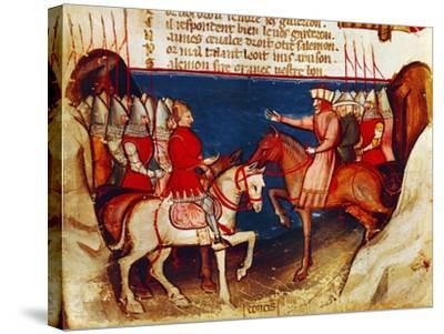 Signing of a Truce, Miniature from the Entree D'Espagne Manuscript--Stretched Canvas Print