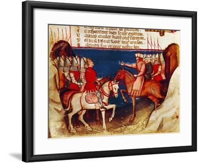 Signing of a Truce, Miniature from the Entree D'Espagne Manuscript--Framed Giclee Print