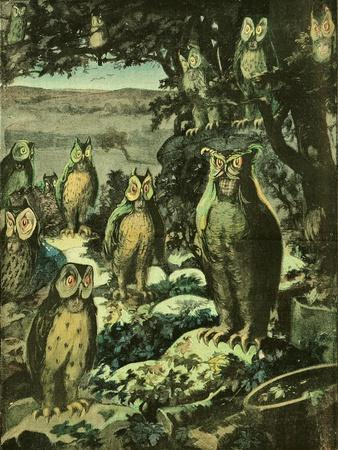 Owls in the Night, Illustration from 'Chantecler'--Framed Giclee Print