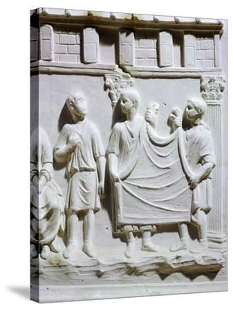 A Seller of Cloth, Detail of Relief from Tuscany--Stretched Canvas Print