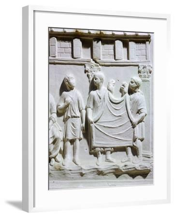 A Seller of Cloth, Detail of Relief from Tuscany--Framed Giclee Print