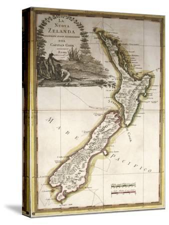 Map of New Zealand--Stretched Canvas Print