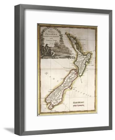 Map of New Zealand--Framed Giclee Print