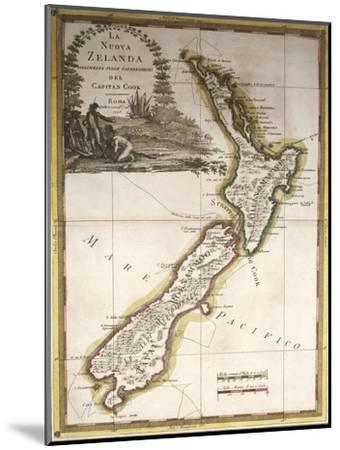 Map of New Zealand--Mounted Giclee Print