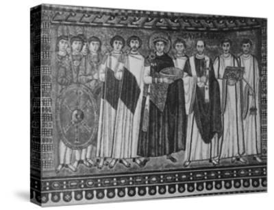 Byzantine Mosaic of Emperor Justinian and His Retinue--Stretched Canvas Print