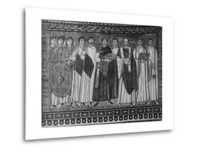 Byzantine Mosaic of Emperor Justinian and His Retinue--Metal Print