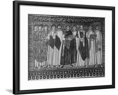 Byzantine Mosaic of Emperor Justinian and His Retinue--Framed Giclee Print