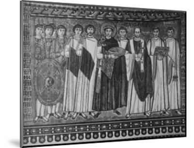 Byzantine Mosaic of Emperor Justinian and His Retinue--Mounted Giclee Print