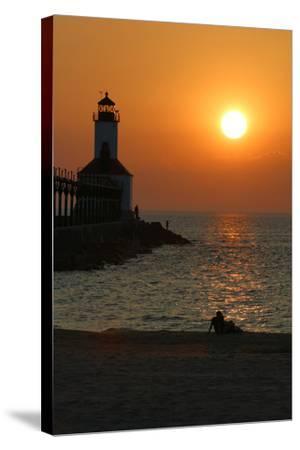 Indiana Dunes lighthouse at sunset, Indiana Dunes, Indiana, USA-Anna Miller-Stretched Canvas Print
