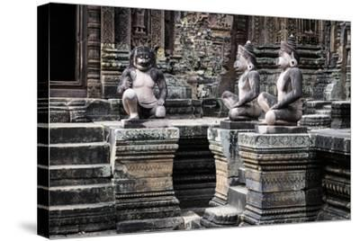 Cambodia, Angkor Wat. Banteay Srei Temple, Three Monkey Statues-Matt Freedman-Stretched Canvas Print