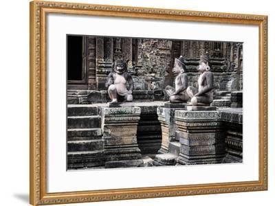 Cambodia, Angkor Wat. Banteay Srei Temple, Three Monkey Statues-Matt Freedman-Framed Photographic Print