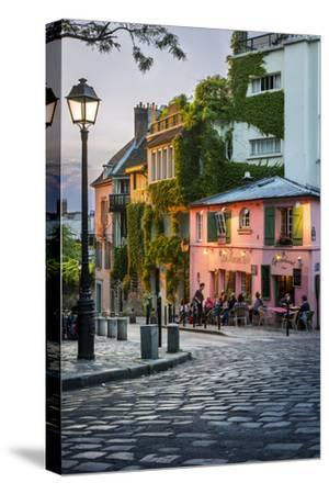 Evening Sunlight on La Maison Rose in Montmartre, Paris, France-Brian Jannsen-Stretched Canvas Print