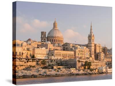 Valletta During Sunset and Marsamxett Harbor, Malta-Martin Zwick-Stretched Canvas Print
