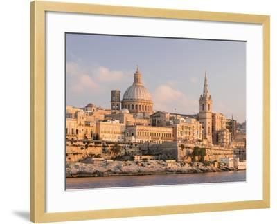 Valletta During Sunset and Marsamxett Harbor, Malta-Martin Zwick-Framed Photographic Print