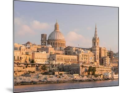 Valletta During Sunset and Marsamxett Harbor, Malta-Martin Zwick-Mounted Photographic Print