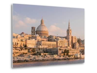 Valletta During Sunset and Marsamxett Harbor, Malta-Martin Zwick-Metal Print