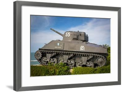 Us Army Sherman Tank on Display at Arromanches-Les-Bains, France-Brian Jannsen-Framed Photographic Print