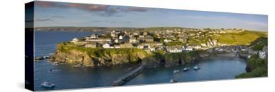 Panoramic View over Port Isaac, Cornwall, England-Brian Jannsen-Stretched Canvas Print