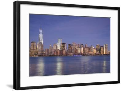 USA, New York, New York City, Lower Manhattan and Freedom Tower, Dusk-Walter Bibikow-Framed Photographic Print