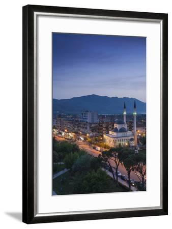 Albania, Shkodra, Elevated View of Zogu 1 Boulevard and Mosque, Dusk-Walter Bibikow-Framed Photographic Print