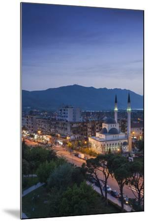 Albania, Shkodra, Elevated View of Zogu 1 Boulevard and Mosque, Dusk-Walter Bibikow-Mounted Photographic Print