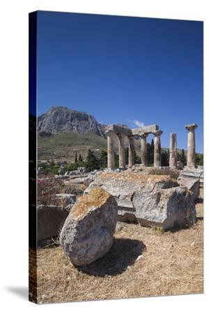Greece, Peloponnese, Corinth, Ancient Corinth, Temple of Apollo-Walter Bibikow-Stretched Canvas Print