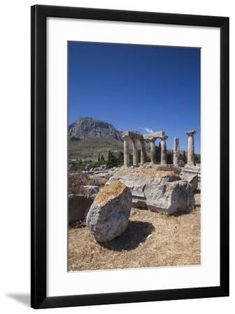 Greece, Peloponnese, Corinth, Ancient Corinth, Temple of Apollo-Walter Bibikow-Framed Photographic Print