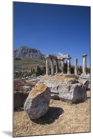 Greece, Peloponnese, Corinth, Ancient Corinth, Temple of Apollo-Walter Bibikow-Mounted Photographic Print